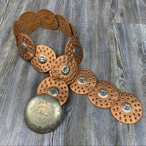 Rose Gold Leather Medallion Western Boho Belt